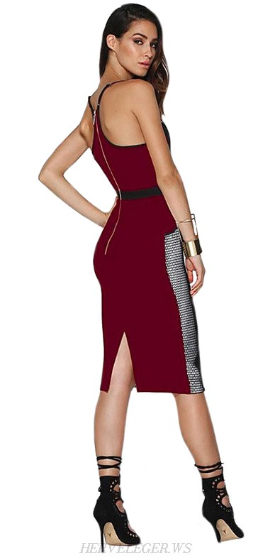 Herve Leger Burgundy Cut Out Colorblock Dress
