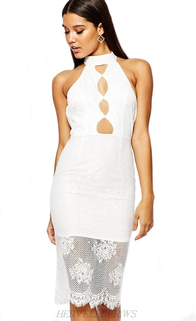 Herve Leger White Cut Out Lace Dress