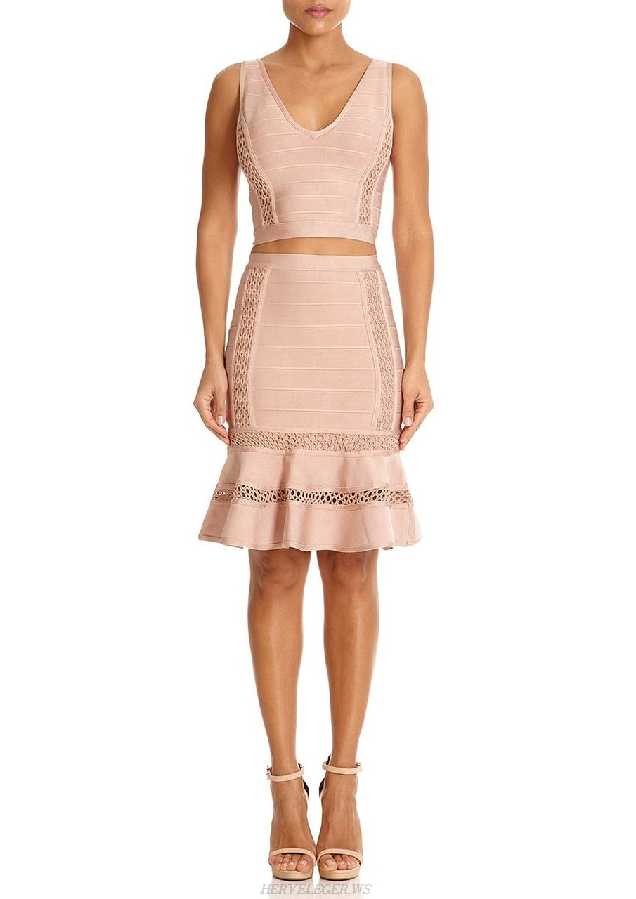 Herve Leger Pink Cut Out Mermaid Two Piece Dress