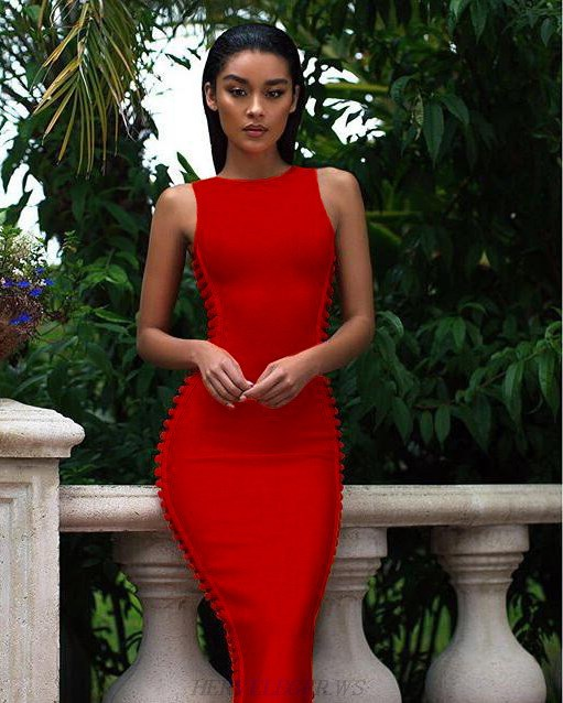 Herve Leger Red Cut Out Side Dress