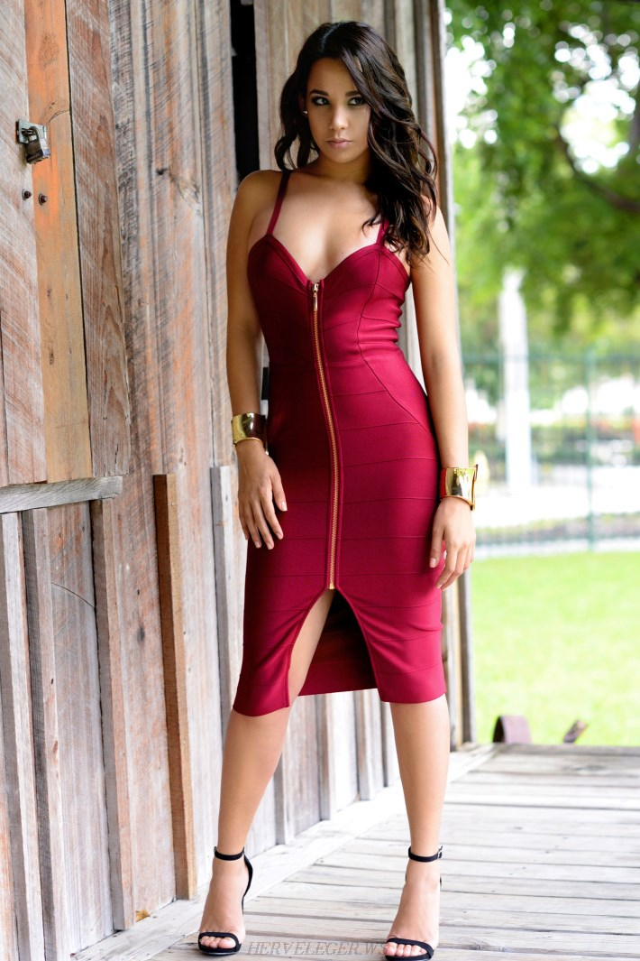 Herve Leger Burgundy Front Zipper Dress