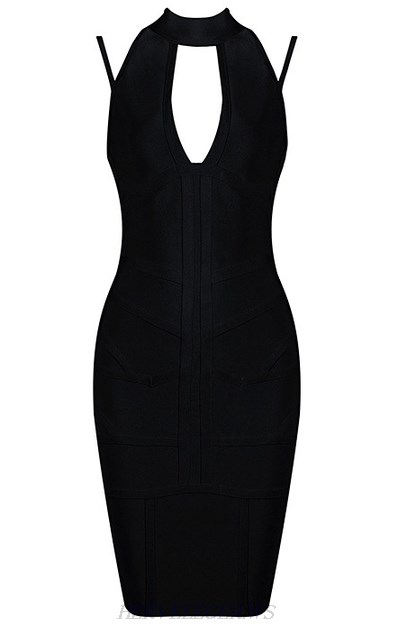Herve Leger Black Halter Cut Out Straps Dress