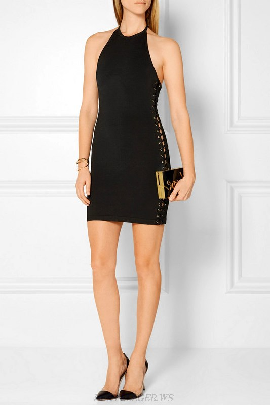 Herve Leger Black Halter Lace Up Dress