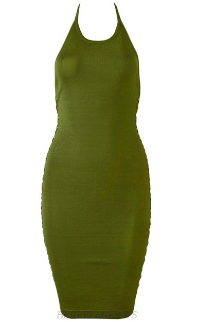 Herve Leger Green Halter Lace Up Dress