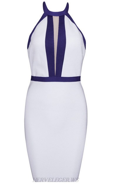 Herve Leger White Navy Blue Halter Mesh Dress