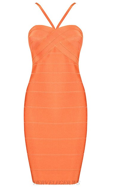 Herve Leger Orange Halter Strap Dress