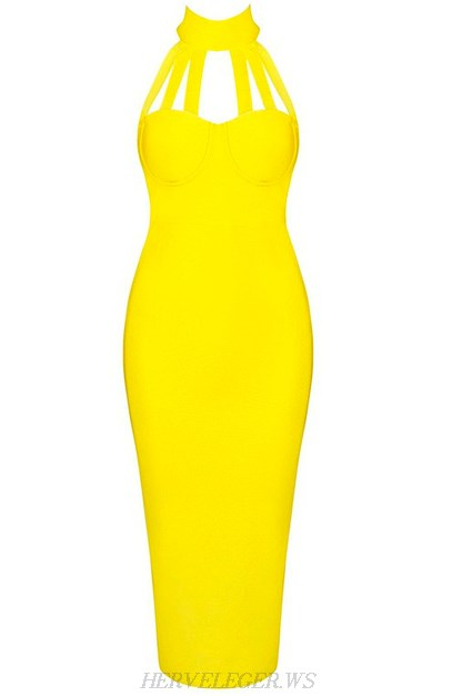 Herve Leger Yellow Halter Strap Dress