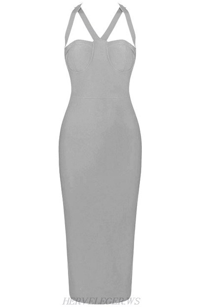 Herve Leger Grey Halter Strappy Bustier Dress