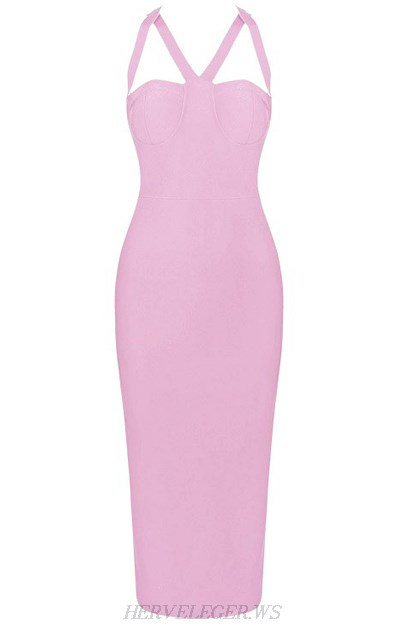Herve Leger Pink Halter Strappy Bustier Dress
