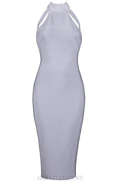 Herve Leger Grey Halterneck Cut Out Dress
