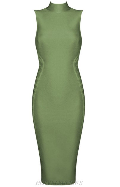 Herve Leger Green HighNeck Dress