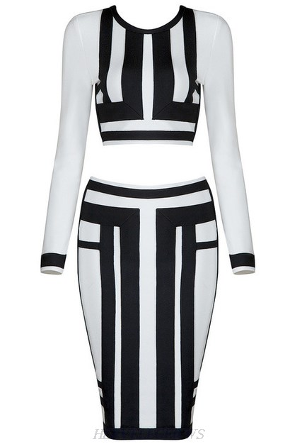 Herve Leger Black And White Long Sleeve Colorblock Two Piece Dress