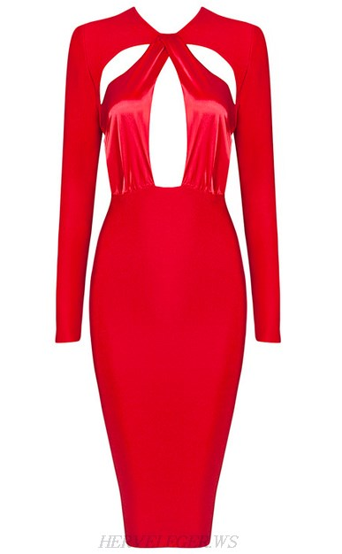 Herve Leger Red Long Sleeve Cut Out Dress