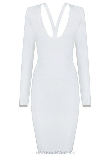 Herve Leger White Long Sleeve Cut Out Neck Dress