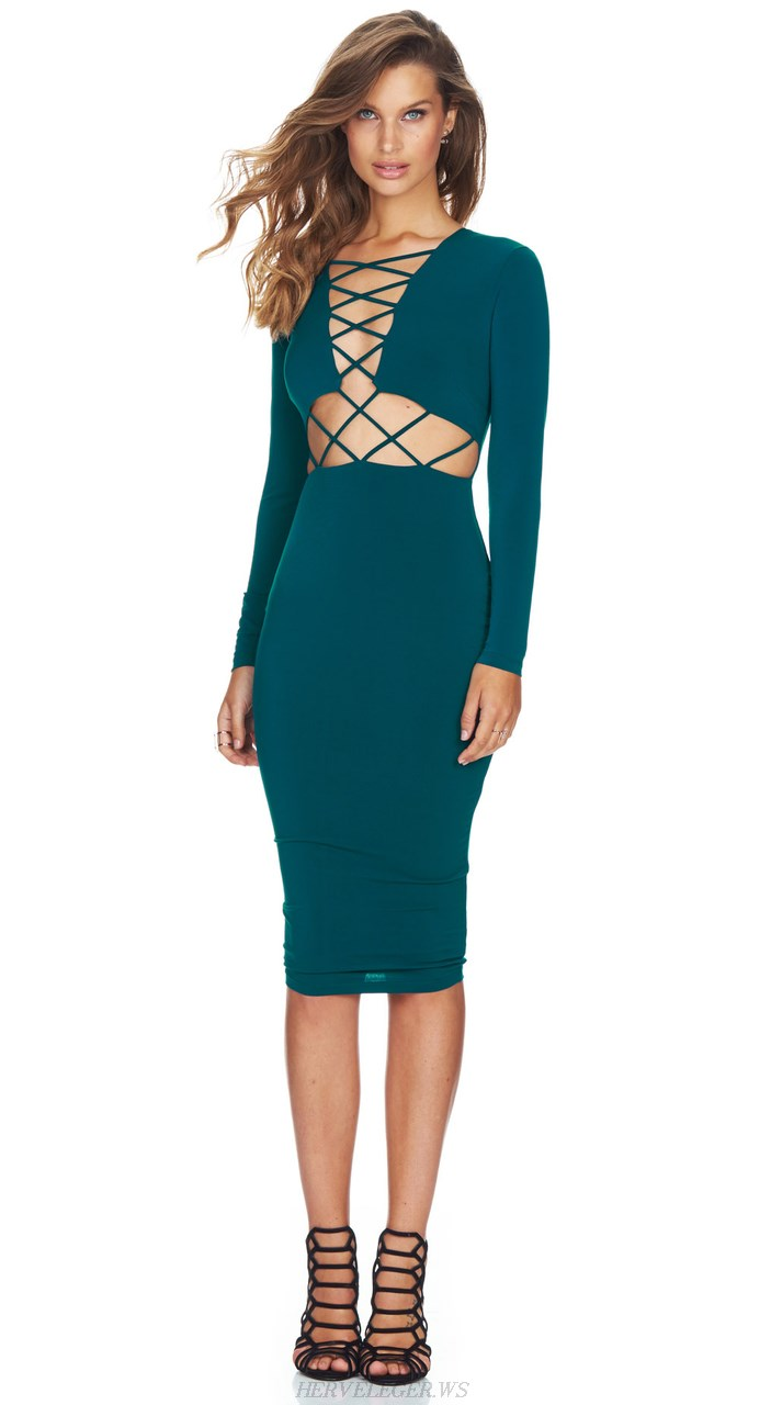 Herve Leger Green Long Sleeve Lattice Dress