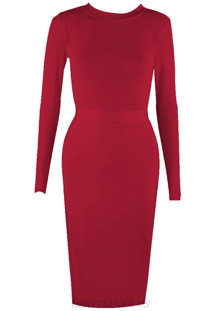 Herve Leger Burgundy Long Sleeve Mesh Dress