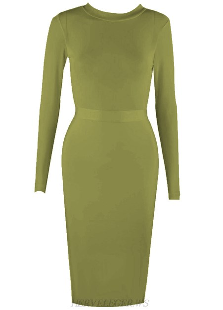 Herve Leger Green Long Sleeve Mesh Dress