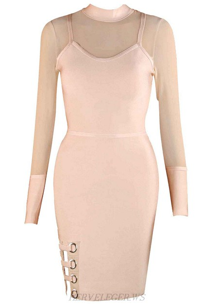 Herve Leger Nude Long Sleeve Mesh Slit Dress