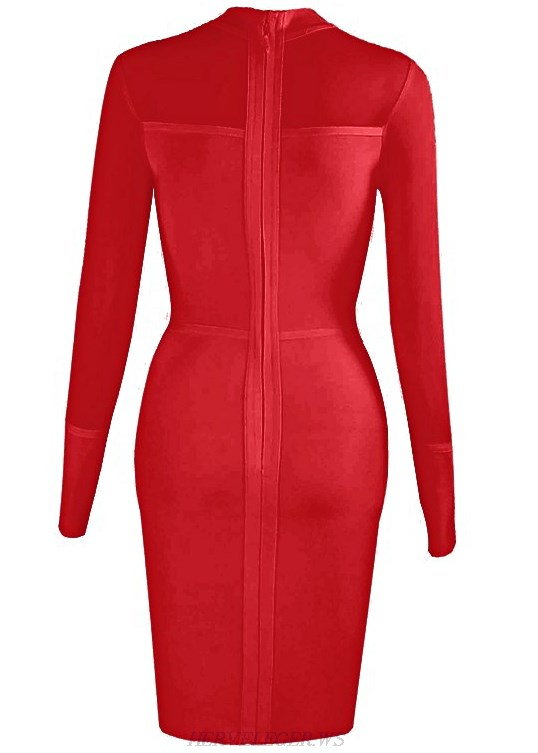 Herve Leger Red Long Sleeve Mesh Slit Dress