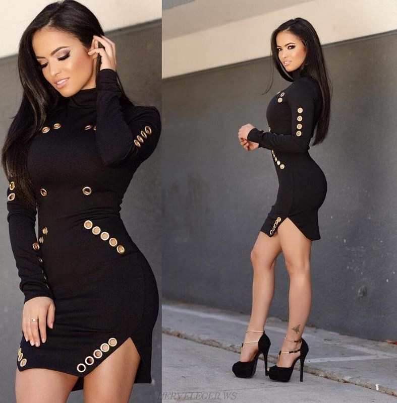 Herve Leger Black Long Sleeve Metallic Cut Out Dress