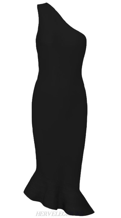 Herve Leger Black One Shoulder Fluted Dress