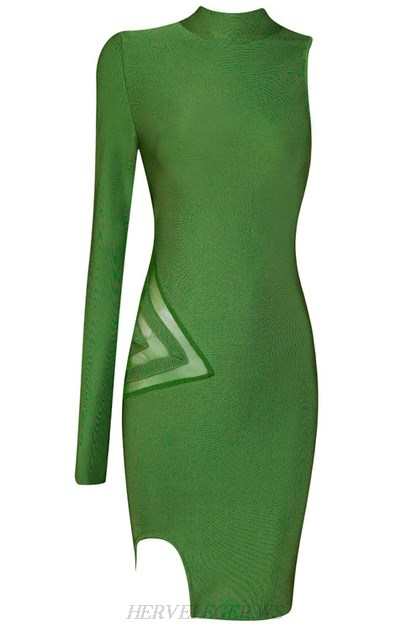 Herve Leger Green One Sleeve Mesh Dress