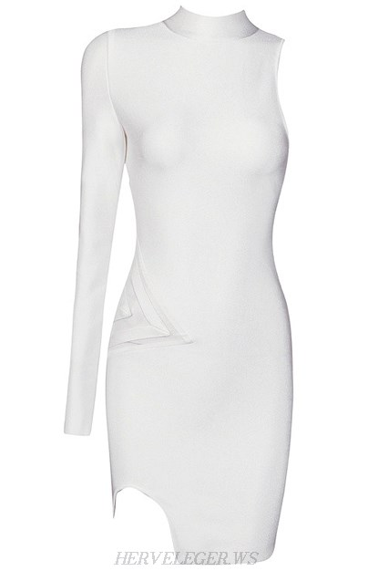 Herve Leger White One Sleeve Mesh Dress