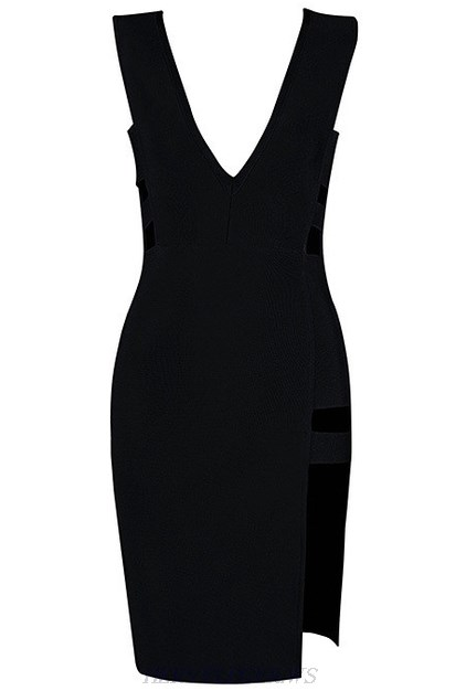 Herve Leger Black Plunging Cut Out Slit Dress