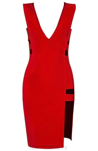 Herve Leger Red Plunging Cut Out Slit Dress