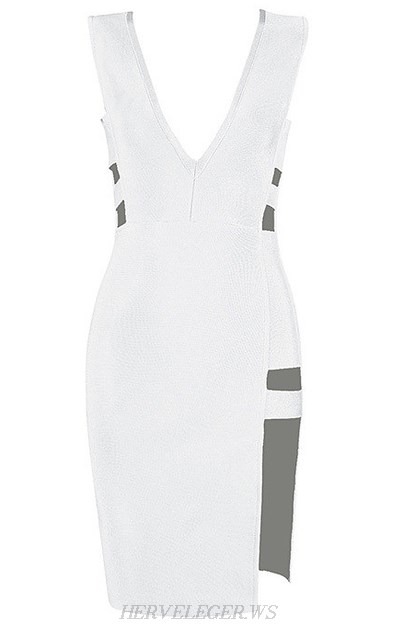 Herve Leger White Plunging Cut Out Slit Dress
