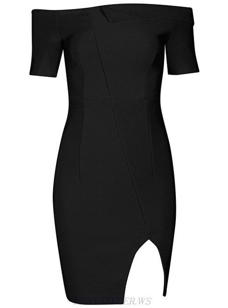 Herve Leger Black Short Sleeve Bardot Slit Dress