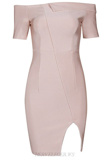 Herve Leger Nude Short Sleeve Bardot Slit Dress