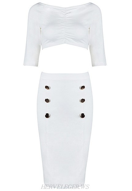 Herve Leger White Short Sleeve Bardot Two Piece Dress