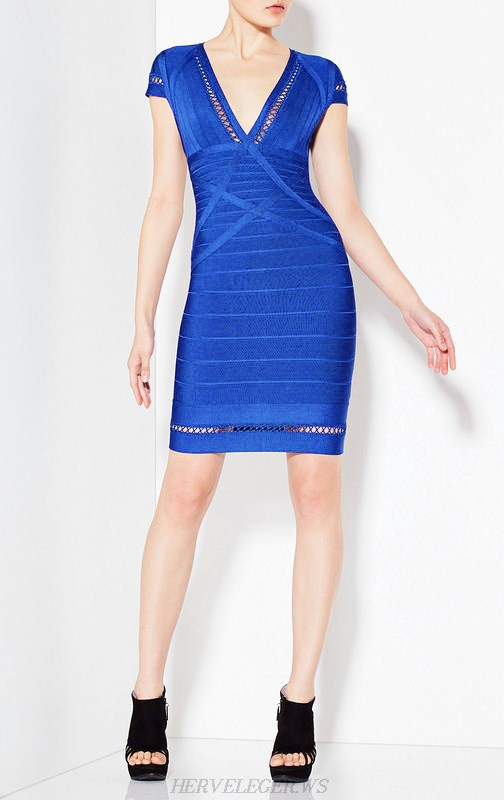 Herve Leger Blue Short Sleeve Crochet Trim Dress