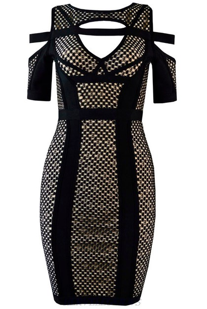 Herve Leger Black And Nude Short Sleeve Cut Out Dress