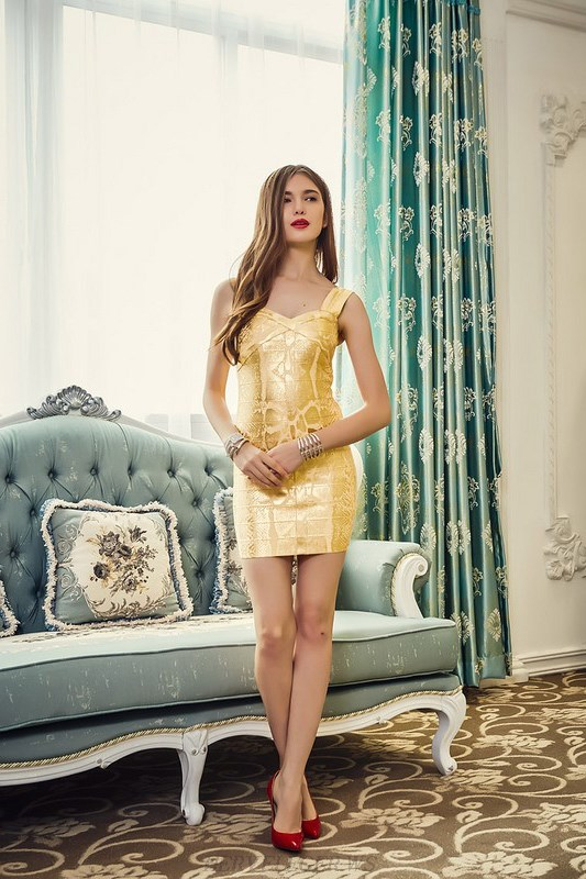 Herve Leger Gold Snake Woodgrain Foil Print Dress