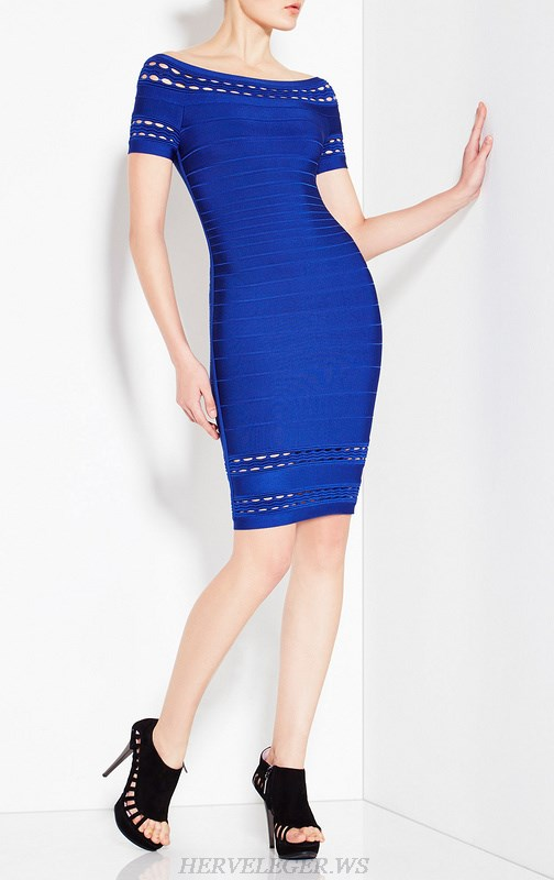 Herve Leger Blue Black Grey And Silver Multicolor Cap Sleeve Bandage Dress