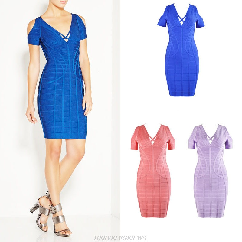 Herve Leger Coral Blue And Purple Multicolor V Neck Bandage Dress