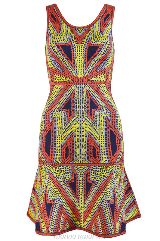 Herve Leger Pink And Yellow Jacquard Weave Bandage Dress