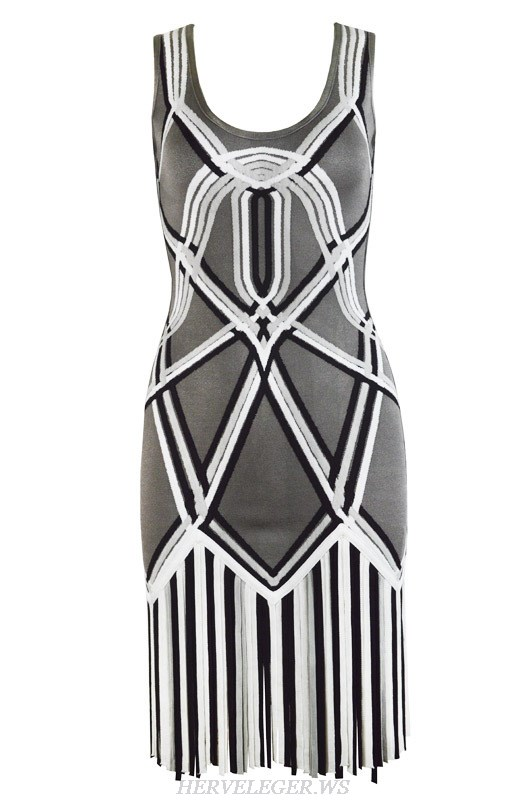 Herve Leger Blue Grey And Purple Multicolor Classical Stripe U Neck Dress