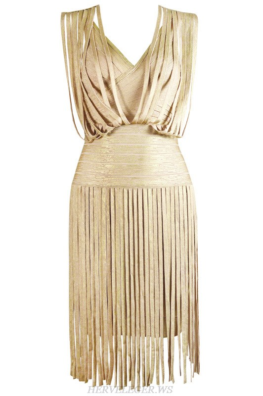 Herve Leger Pink Gold Silver Black And Blue Multi Color Bronzing V Neck Fringe Dress