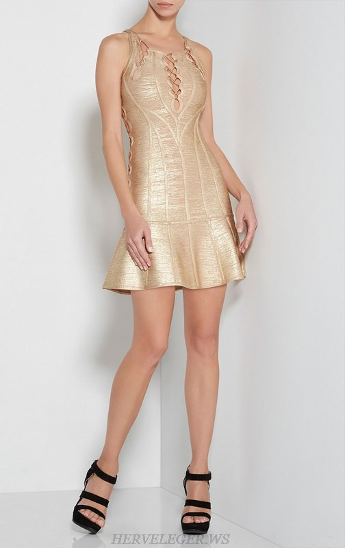 Herve Leger Gold Bronzing Cutout Bandage Dress