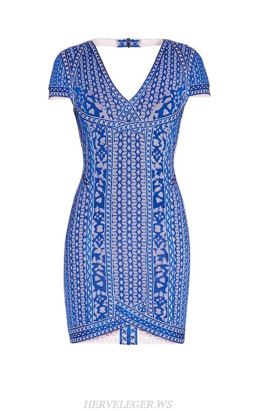 Herve Leger Blue Jacquard V Neck Cap Sleeve Bandage Dress