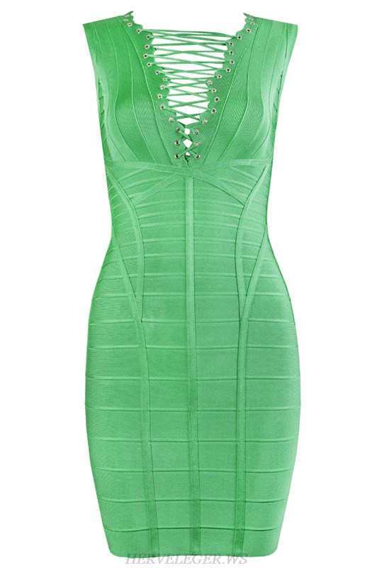 Herve Leger Green V Neck Straps Bandage Dress
