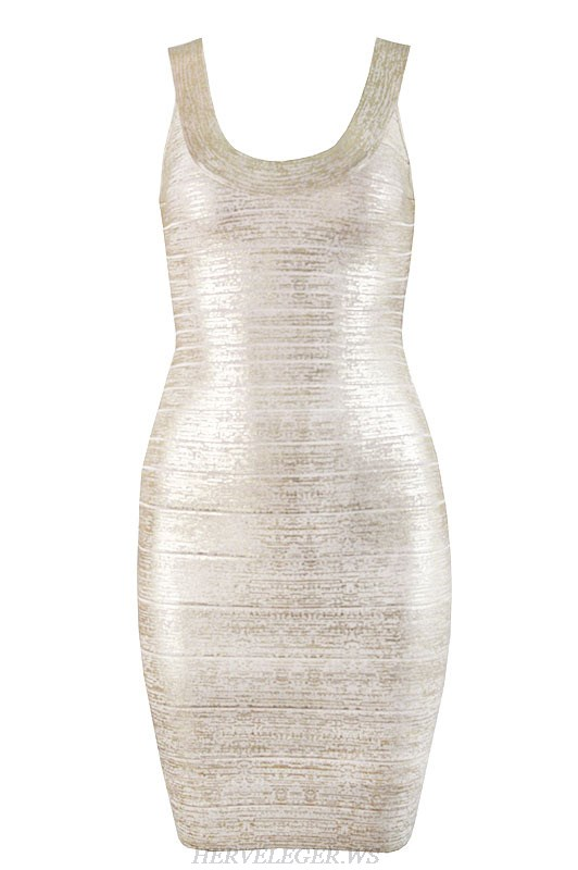 Herve Leger Gold Bronzing U Neck Bandage Dress