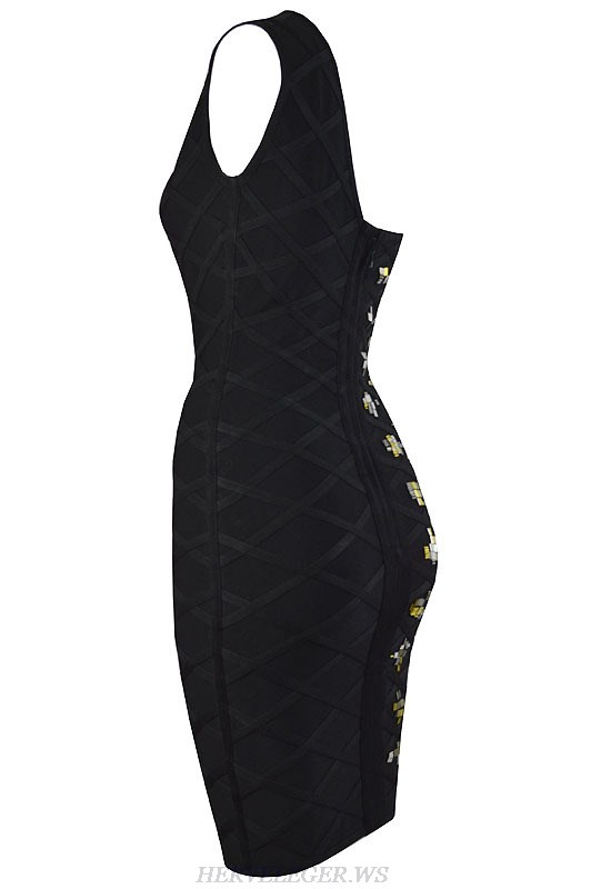 Herve Leger Black Beaded One Shoulder Bandage Dress