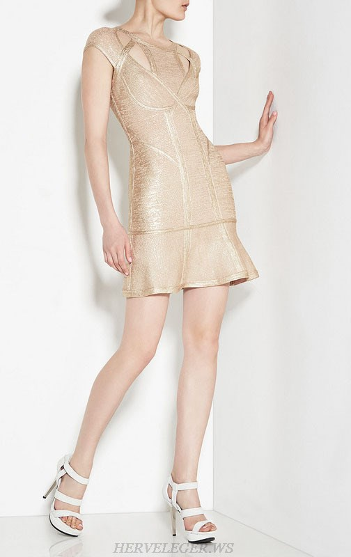 Herve Leger Gold And Black Gold Multi Color Bronzing Cocktail Dress