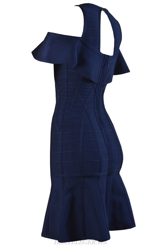 Herve Leger Blue And Purple V Neck Cap Sleeve Cocktail Dress