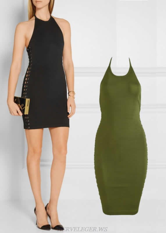Herve Leger Black And Green Multi Color Halter Bandage Dress