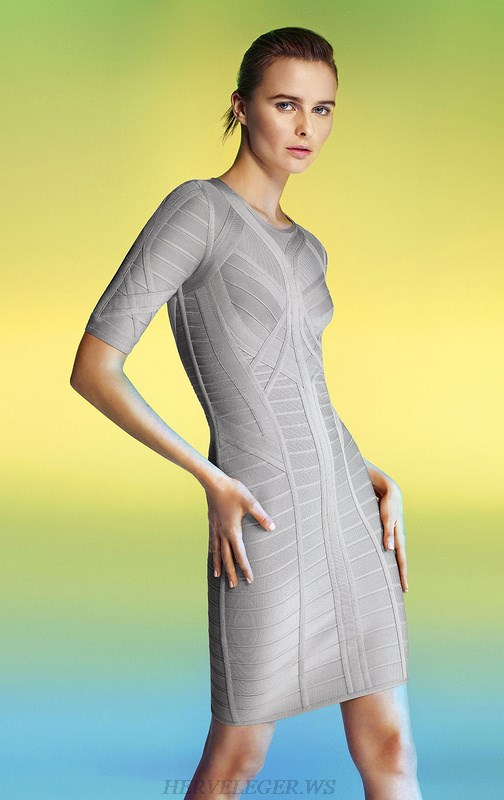 Herve Leger Gray Mid Sleeve Bandage Dress